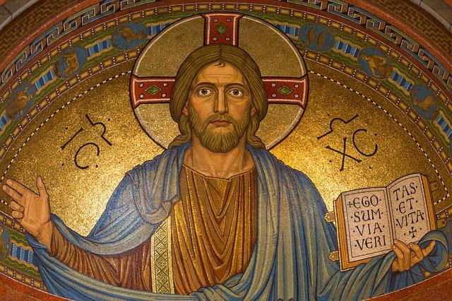 Imagem de Cristo em mosaico bizantino