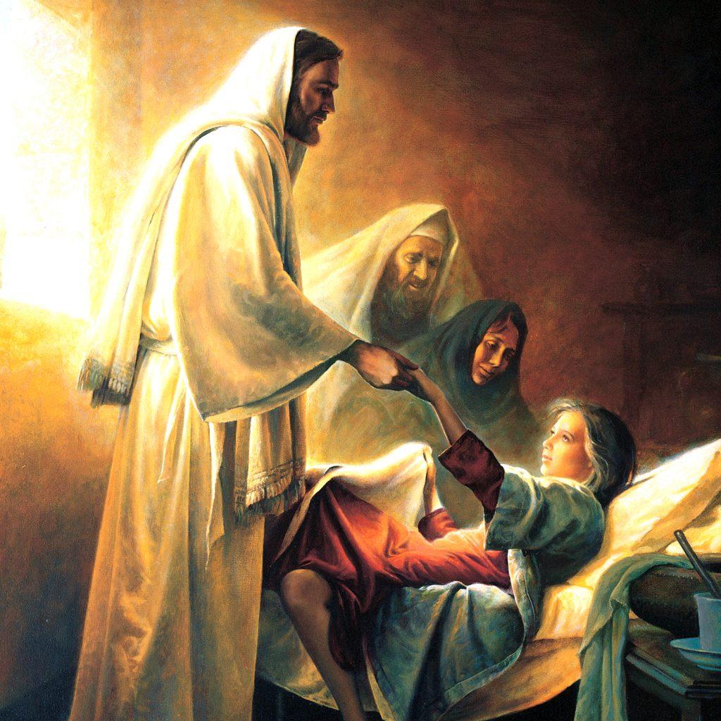 Pintura mostrando Jesus Curando a Filha de Jairo