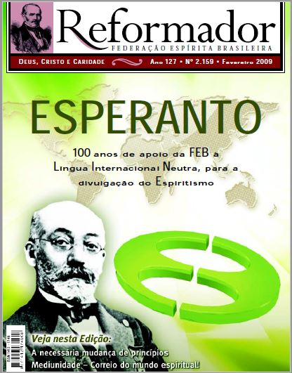Capa da Revista Reformador de Fevereiro de 2009 destacando a imagem de Zamenhof e um dos símbolos do Esperanto